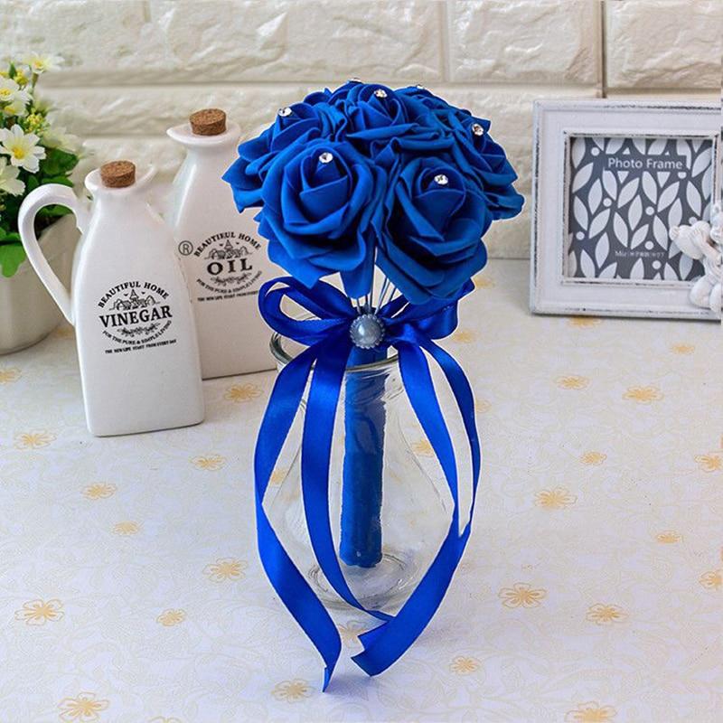 Wedding-Bouquet Flower Artificial-Crystals-Handle Buque-De-Noiva Handmade New-Arrival