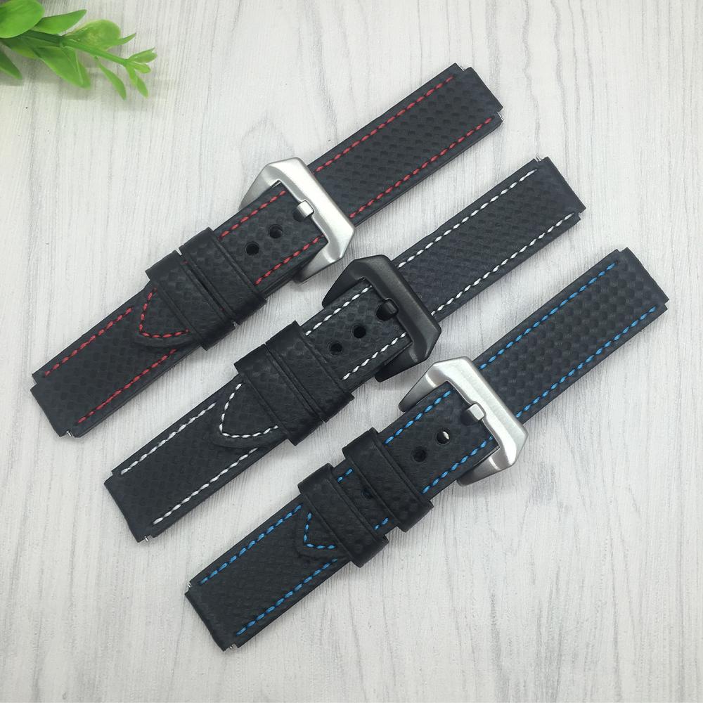 Prix pour En fiber de carbone motif bracelet 22x18mm qualité bracelet en cuir pour huawei watch rapide libération de remplacement en cuir bracelets montres