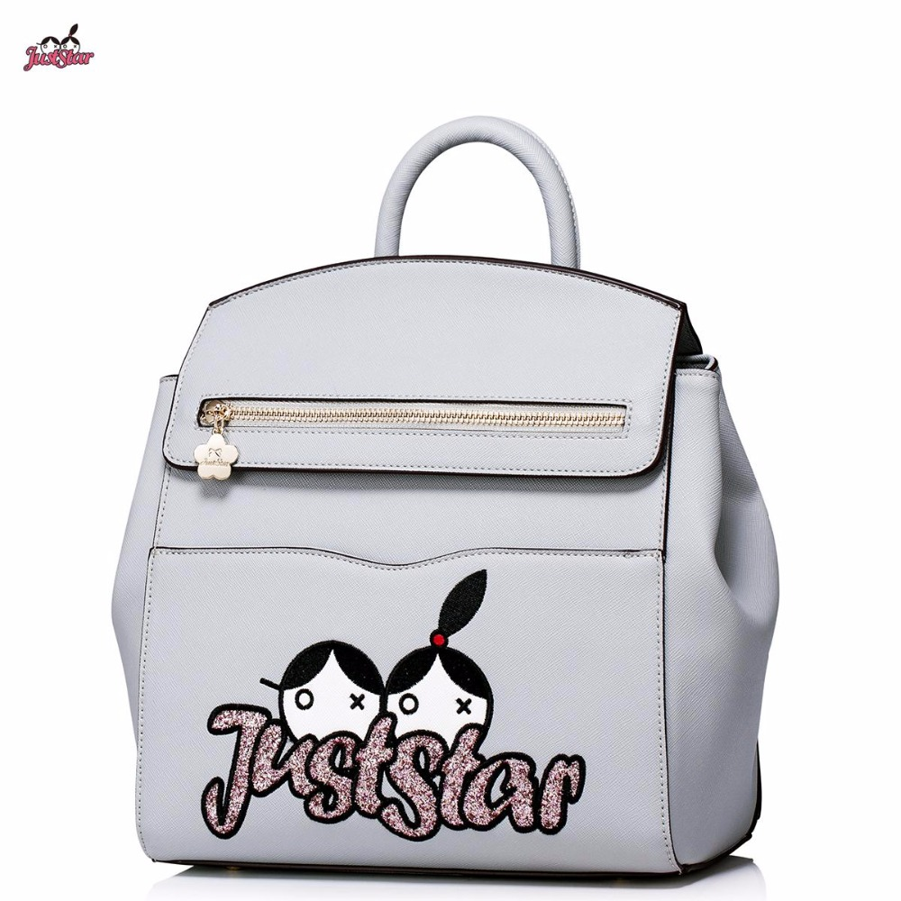 Just Star Brand Design Cartoon Embroidery Casual PU Women Leather Girls Ladies Backpack Shoulders Travel School Bags 2017 new brand ballet girl embroidery drawstring pu women leather ladies backpack shoulders school travel bags student daypack