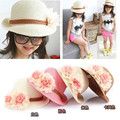 2016 Hot Cute Flower Decorate Baby Girls Children Hats Sun Beach Caps For Summer 4 Colors For Choose Beach hat