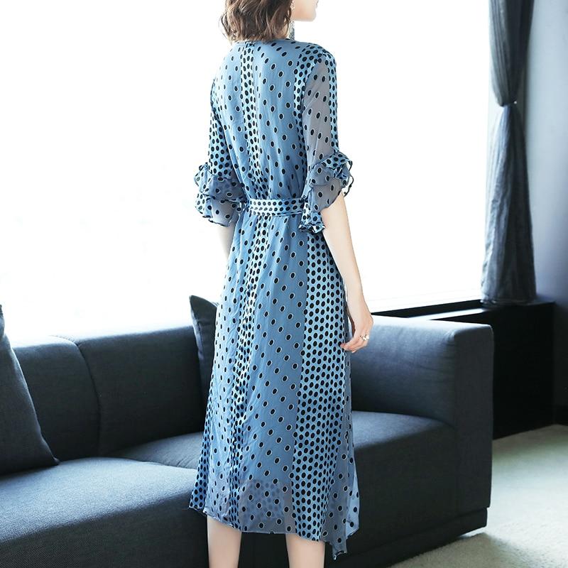 Blue Soie Bleu Partie Mince Longue D'été Printemps Robe Femmes 2019 Élégant Robes Dot Tcyeek Lwl1519 Verano Polka daA4wax
