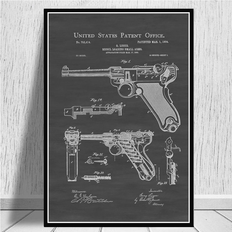 Постер и принты Luger Pistol патентная схема пистолета Современная живопись художественная живопись настенные картины для гостиной домашний декор