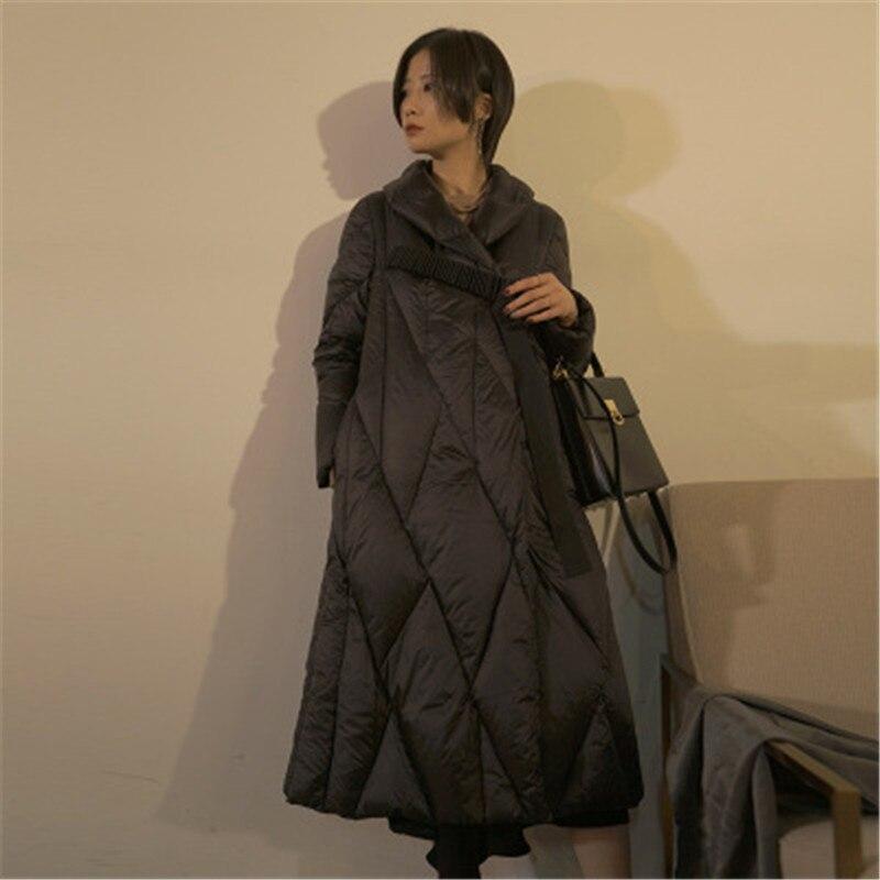 De Femmes Le Blanc Solide Longue Duvet Manteau Femelle D'hiver Épais Black Bas Vers D'oie Yy210 Veste Survêtement orange Simple Couleur Rétro Mode r8rfq