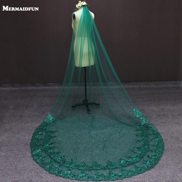 תמונות אמיתיות ירוק חתונה רעלה נדבך אחד בלינג פאייטים תחרה כלה רעלה עם מסרק יפה אביזרי חתונה