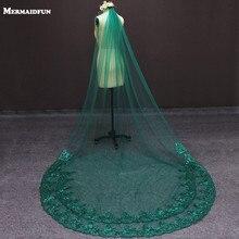 รูปภาพจริงสีเขียวแต่งงานเดี่ยวชั้น Bling Sequins ลูกไม้ผ้าคลุมหน้าเจ้าสาวด้วยหวีแต่งงานอุปกรณ์เสริม