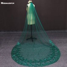 Real Photos Green Wedding Veil Single Tier Bling Sequins Lace Bridal Veil with Comb Beautiful Wedding Accessories