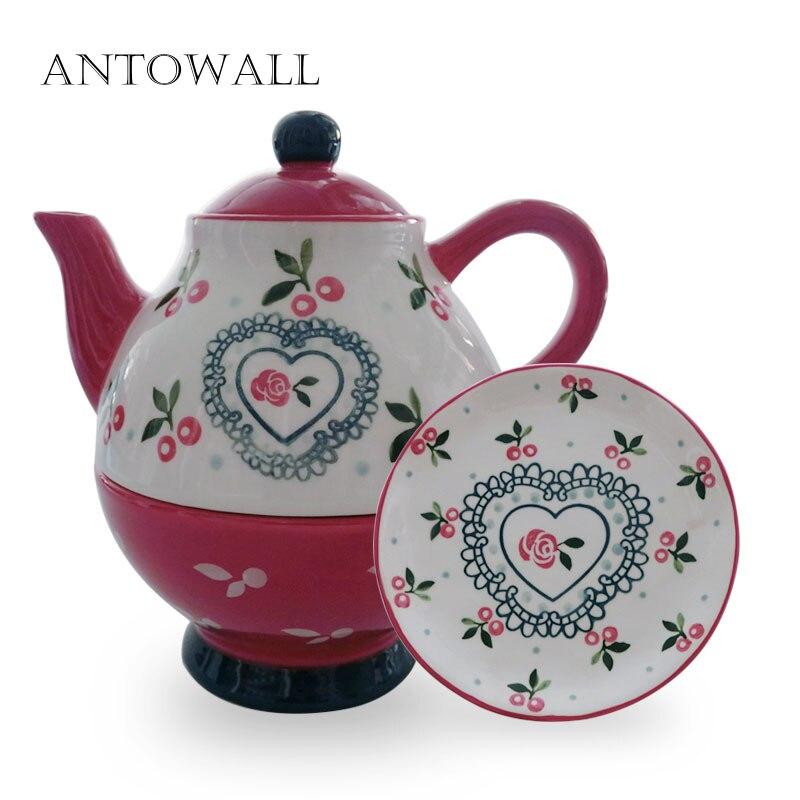ANTOWALL керамический чайник бытовой один горшок чайная чашка вишня бытовой Диск плоская тарелка Dim Sum Набор тарелок