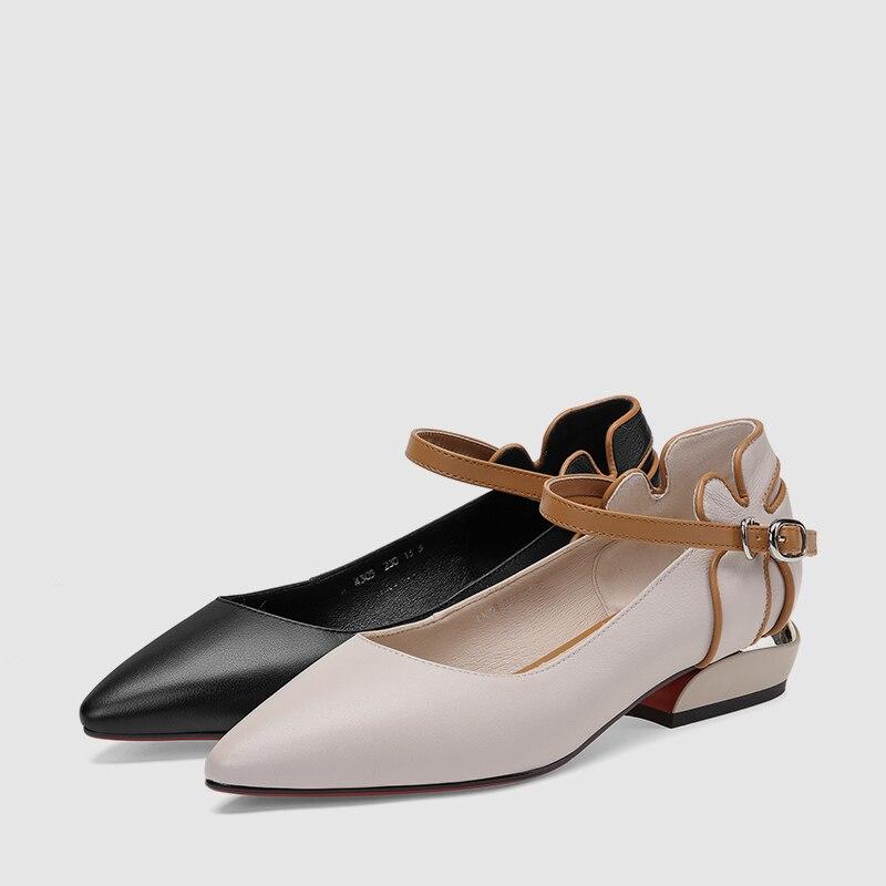 Concis Western Bonjomarisa Nouveau Printemps Femmes noir 2019 Conception Chaussures Marque 34 Talons Femme 42 Faible Beige Véritable Noires Vache Pompes En Cuir qATaqnx