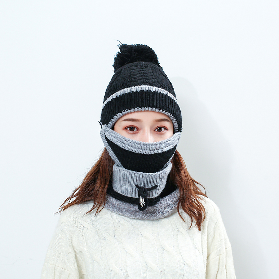 Winter Women's Knitted Wool Warm Hat Caps Neck Collar Three PCS Set Motor Driver Windproof Beanies Hat Scarf Mask Set For Women