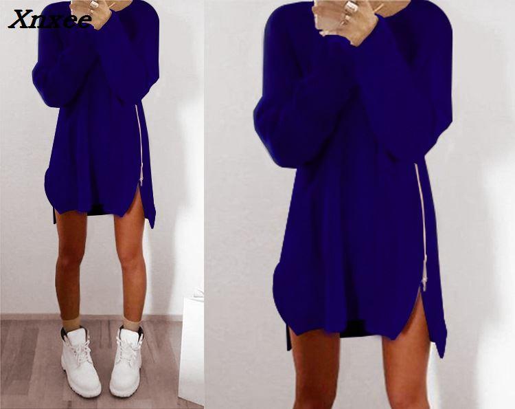 Winter Warm 2018 Casual Fashion Women Dress Long Sleeve O neck Irregular Dress Zipper Solid Color Short Sweater Dress Vestidos in Dresses from Women 39 s Clothing
