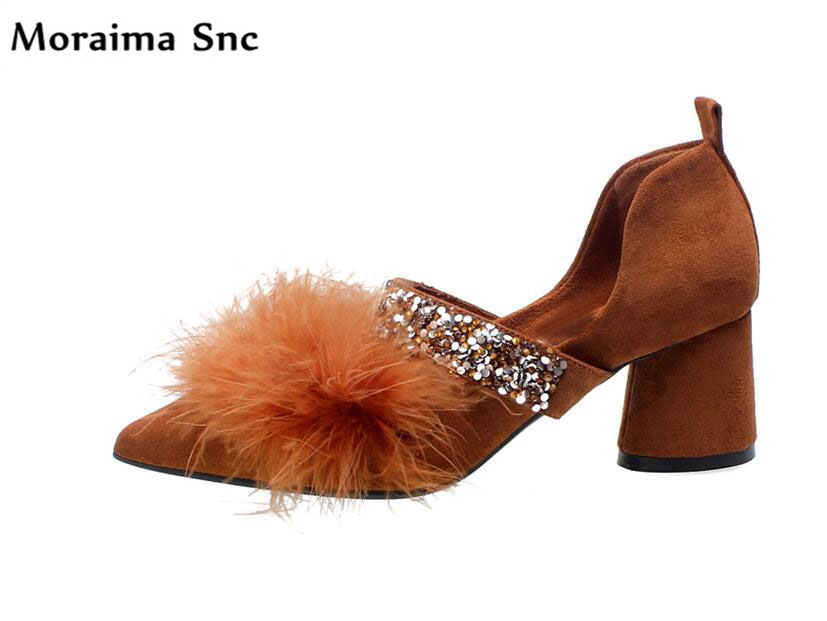 Moraima Snc fur Decoration bling chic women shoes high heels pointed toe shallow vintage velvet female pumps square heelsMoraima Snc fur Decoration bling chic women shoes high heels pointed toe shallow vintage velvet female pumps square heels