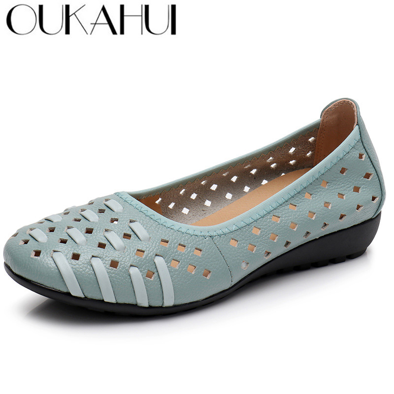 Oukahui Fashion Hollow Out Genuine Leather Summer Shoes Women Flat Bird'S Nest Design Cover Toe Soft Breathable Boat Shoes Woman