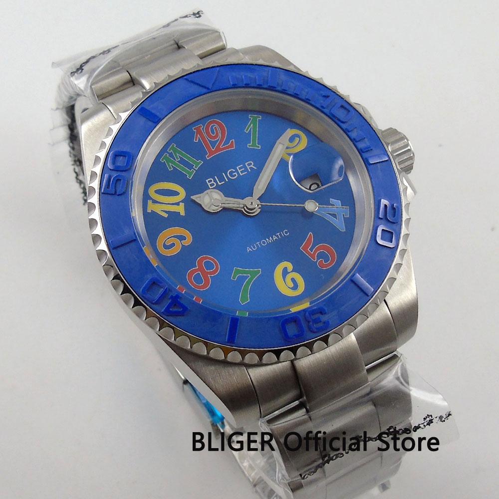Здесь можно купить  BLIGER 40mm Blue Dial Ceramic Rotating Bezel Stainless Steel Strap Luminous Marks Date Magnifier Automatic Movement Men