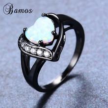 Bamos Women Heart Ring Fashion White Fire Opal Rings Black G