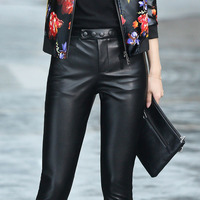 Autumn and winter new Haining leather trousers women wear pants and cashmere was thin sheepskin high waist pants feet