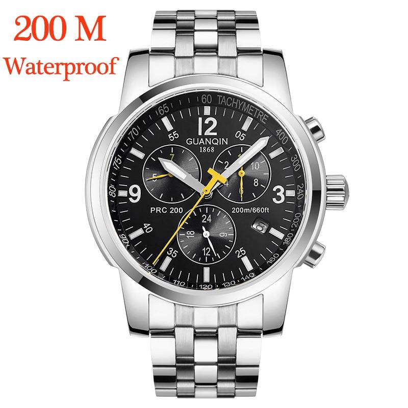 レロジオ Masculino GUANQIN 機械式自動腕時計 200 メートル水泳腕時計防水日付新スポーツフル鋼 guanqin  グループ上の 腕時計 からの 機械式時計 の中 1
