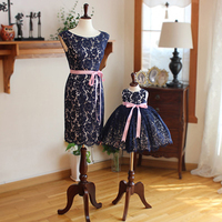Dark Blue Mom and Daughter Lace Dress Wedding Formal Sleeveless Family Matching Outfits