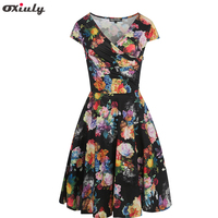 Oxiuly Womens Vintage Audrey Hepburn Floral Printing Office Dress Ruched Casual Party Work Slim Wiggle A