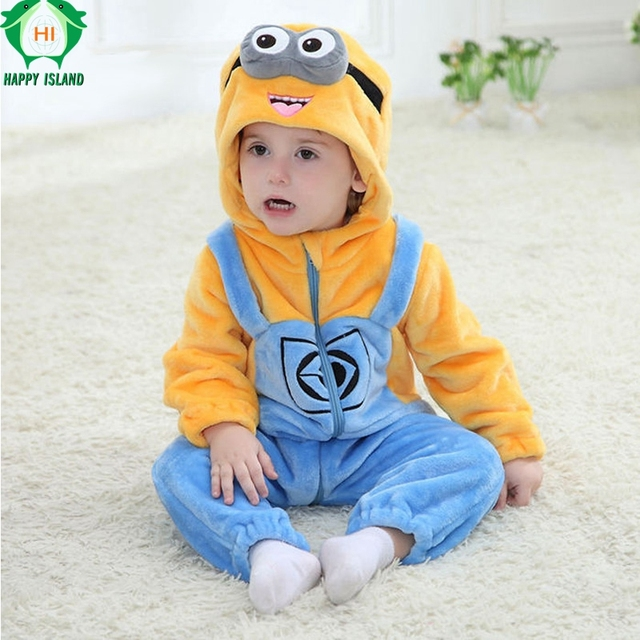 Christmas Baby Clothing Flannel Winter Baby Jumpsuit Romper For Girl Boy Soft Minion Kitty Cat Cosplay Costume For 0-2Y Infant