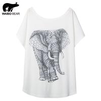 Novelty Women Elephant Pattern Print Casual T Shirt Short Sleeve Round Neck Basic Tees Shirt Funny