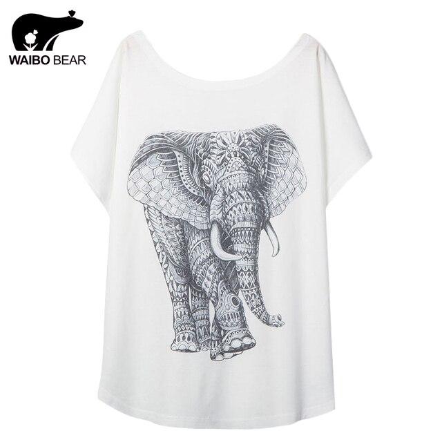 Novidade Mulheres Elefante Padrão de Impressão T-Shirt de Manga Curta Em Torno Do Pescoço T-shirt Camisa Básica Ocasional Engraçado Kawaii Tops WAIBO URSO