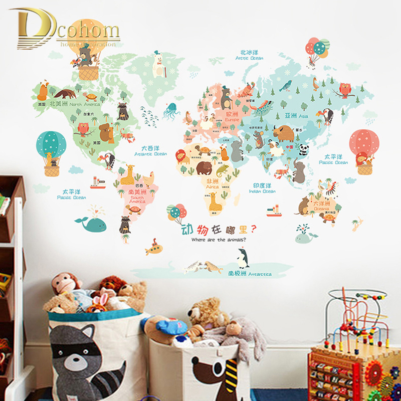 Colorful Cartoon World Map Wall Sticker Kids Room Living Room ...
