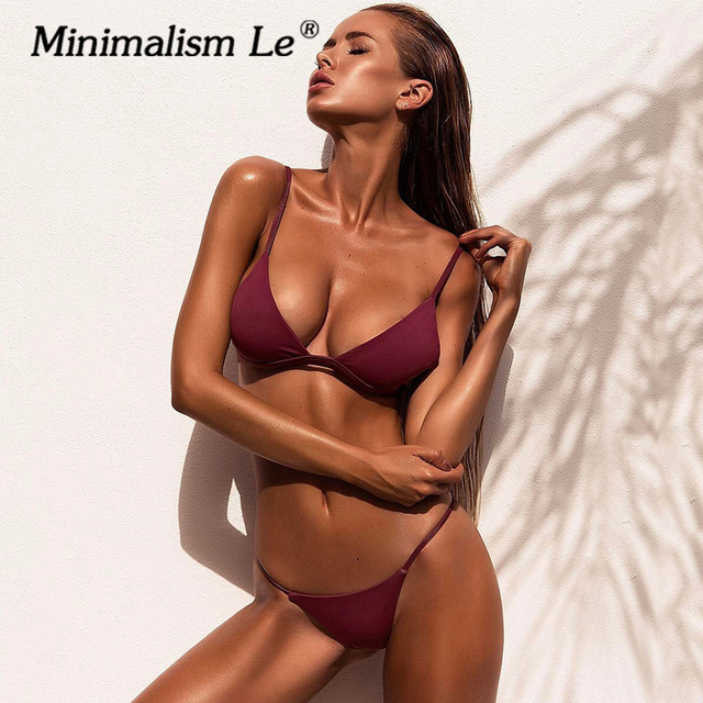 c1a93aea91c50 Minimalism Le 2018 Sexy Solid New Style Swimwear With Pad Bikini Sets  Swimsuit Summer Beach Bikinis Bathing Suits Biquini