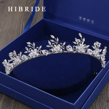 HIBRIDE Jewelry Vintage Tiaras Rhinestone Crystal Crowns Wedding Hair Accessories Rhodium Plated Bridal Jewelry HC00009