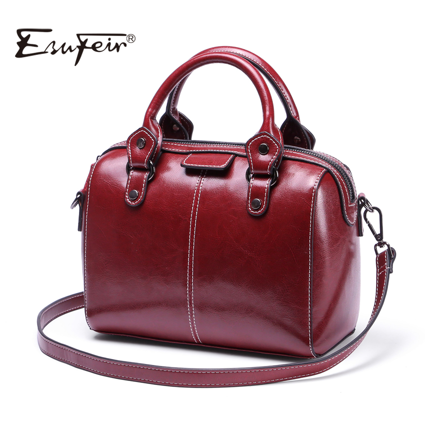 2018 ESUFEIR Brand Genuine Leather Women Handbag Real Cow leather Shoulder Bag Fashion Design Boston Women Crossbody Pillow Bag esufeir brand genuine leather women handbag cross pattern cow leather shoulder bag fashion design top handle trapeze women bag