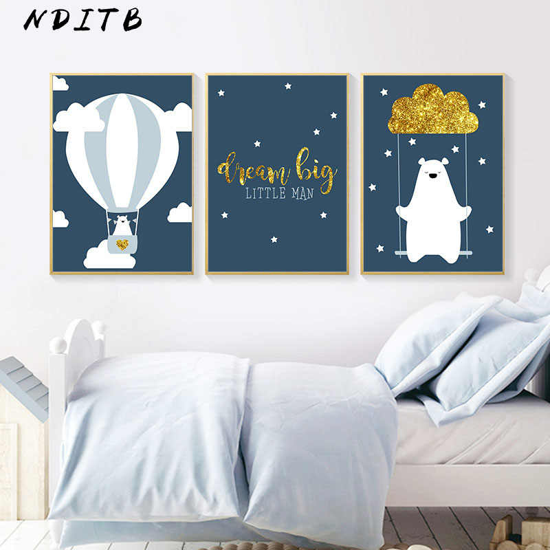 Cartoon Bear Balloon Canvas Poster Nurser Quotes Print Wall Art Painting Nordic Kids Decoration Picture Baby Boys Bedroom Decor