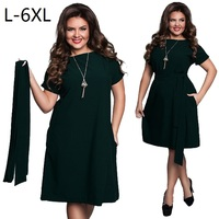 New Arrival 2017 Summer Elegant Solid Dress With Cloth Sashes Women Large Size Dress Plus Size