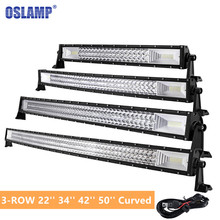 "Oslamp 42"" 22″ 34″ 50″ Curved LED Light Bar Offroad 3-ROW Combo Led Bar For Toyota/PickUp/Truck Led Work Light Bar"