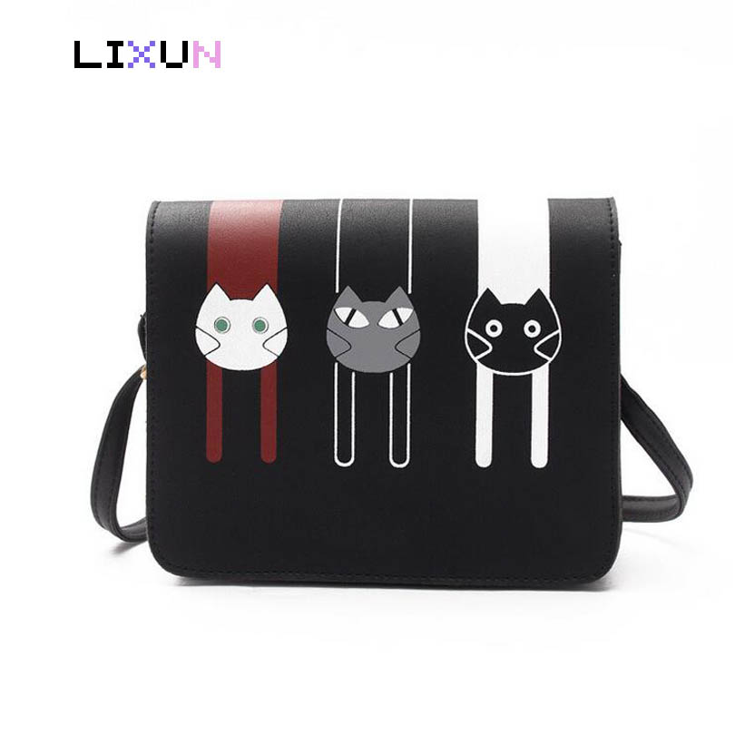 LIXUN 2018 Women Shoulder Bags Printed Cartoon Cats PU Leather Hasp Solid Messenger Hobos Crossbody Bag Small Cute Flap Bags striped travelling carrying bag for cats small