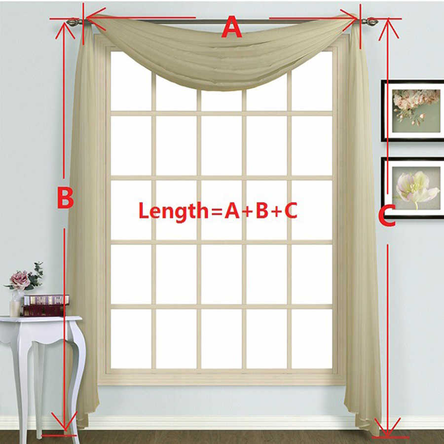 Blue Kitchen Short Sheer Solid Curtain Scarf Panel Tulle Window Treatment Pink Door Curtains Home Decor Living Room WP184-30