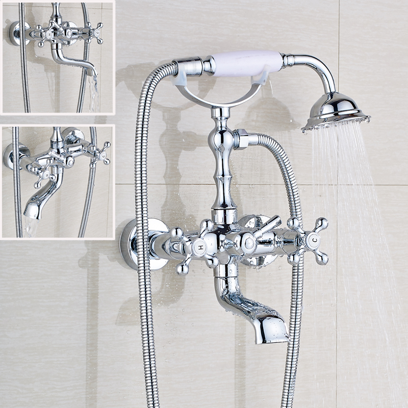 Chrome Polished Bathroom Shower Faucet Double Handle Mixer Tap Bathroom Tub Faucet Wall Mount mojue thermostatic mixer shower chrome design bathroom tub mixer sink faucet wall mounted brassthermostat faucet mj8246