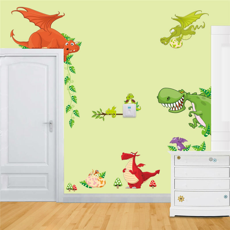 jungle animals 3d wall decals for kids room decorative stickers ...