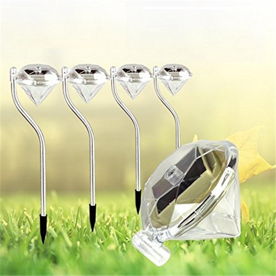 10pcs Lot LED Solar Powered Diamond Garden Lawn Stainless Steel Pathway Light Landscape Solar lamp for