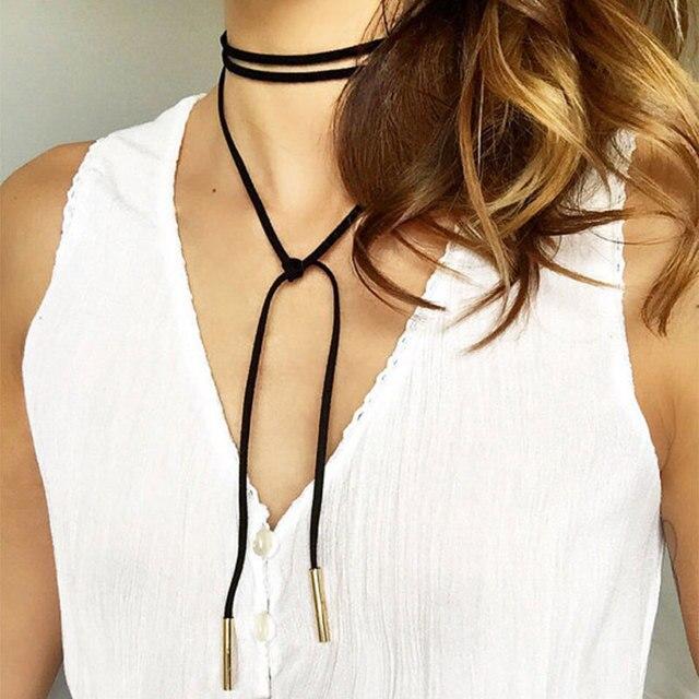 2017 New Fashion Long Black/Brown Velvet Choker Necklace Women Steampunk Gold/Rh