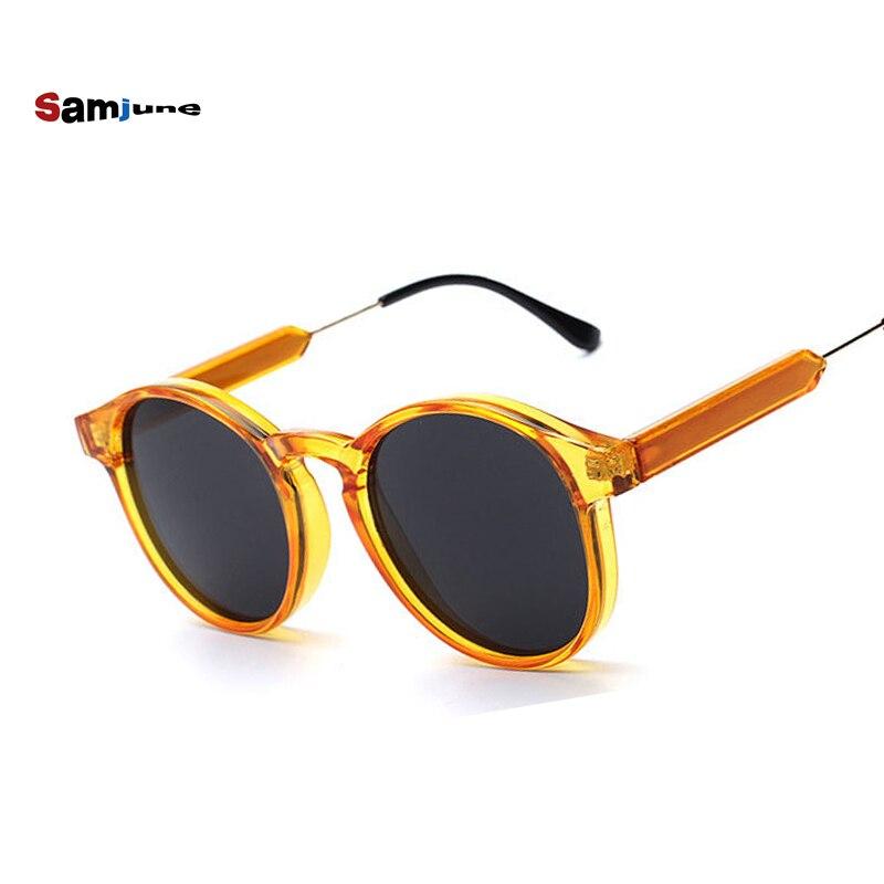 bcde08a19 Samjune بارد سيدة النظارات الشمسية جولة نظارات المرأة العلامة التجارية مصمم  طلاء مرآة الإناث جودة عالية نظارات uv400