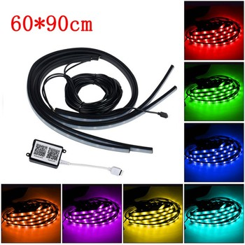 4 tiras de luces LED RGB para debajo del tubo del coche, Kit de luces de neón para el cuerpo, Control de aplicaciones de teléfono, decoración interior del coche