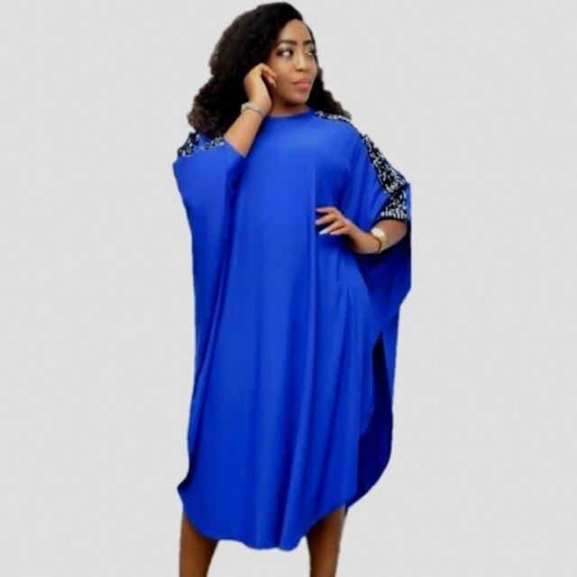 Dashikiアフリカ女性のための3XLプラスサイズドレスレディーススパンコール青赤伝統的なアフリカの服妖精夢