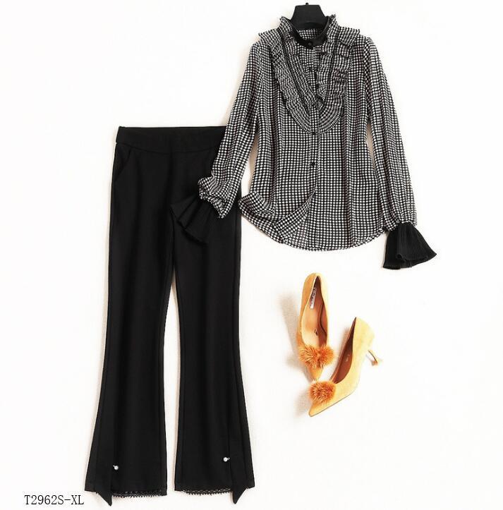 2019 Style Costume Casual Hiver Pantalons Solide Couleur Color Nouveautés Blouse Mode Printemps Femmes Vêtements T2962 Patchwork Européen Photo r5x6wqCOWr
