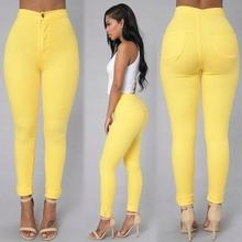 цены на Women Denim Skinny Jeggings Pants High Waist Stretch Pencil Jeans Woman Slim Sexy Push Up Trousers Candy Color Casual Yellow New  в интернет-магазинах