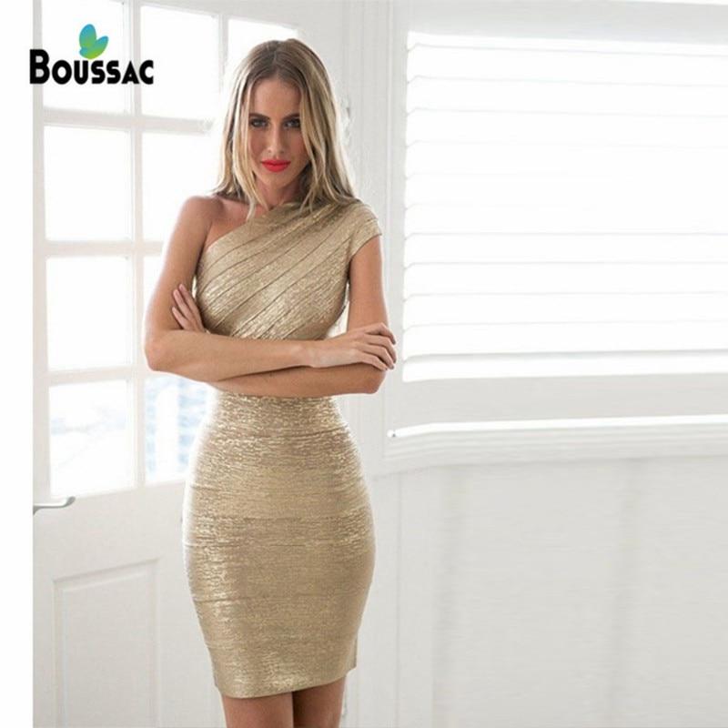 Boussac 2019 femmes robe oblique épaule Bandage fer or robe de fête de mode tempérament réparation unique épaule conception 3