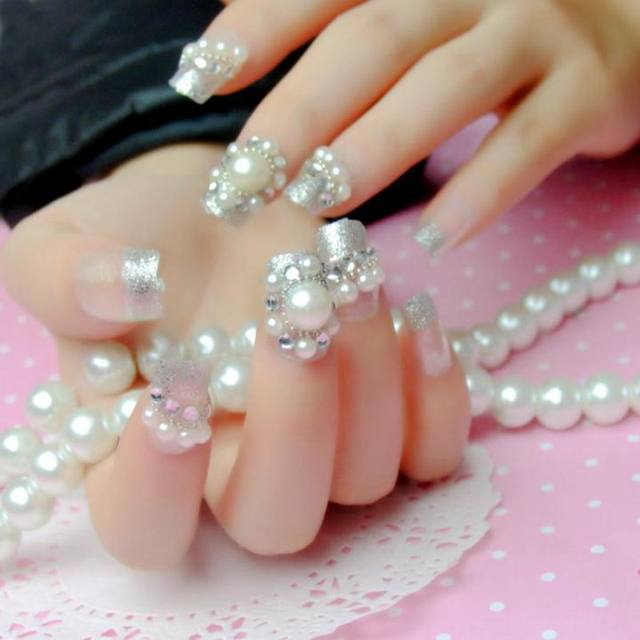 Online shop 24pcs glitter silver clear large pearl rhinestones 24pcs glitter silver clear large pearl rhinestones false nails tips pre design acrylic 3d wedding style z039 prinsesfo Image collections