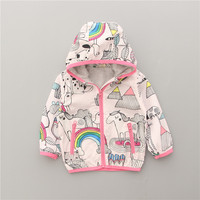 Unicorn Jacket Hot Sale 2017 Spring Autumn Girl Hooded Jackets Coat Brand Print Graffiti Outerwear Cute
