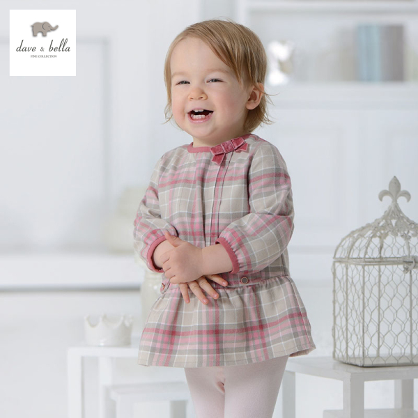 DB1114 dave bella autumn baby dress infant clothes girls plaid dress fairy dress toddle 1 pc kid princess dress sweet cute