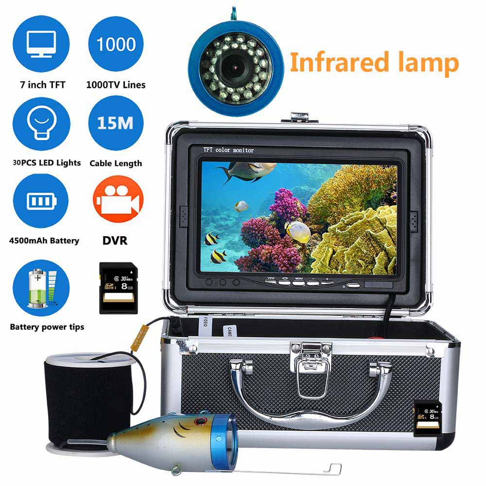 15M 7 Inch DVR Recorder 1000tvl Underwater Fishing Video Camera Kit 30 PCS LED Infrared Lamp