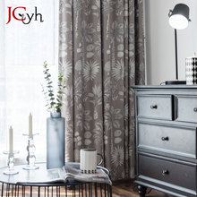 Gray Rainforest Plant Blackout Curtains For Living Room Window Home Modern Fabrics Shading Blind Tend Drapes