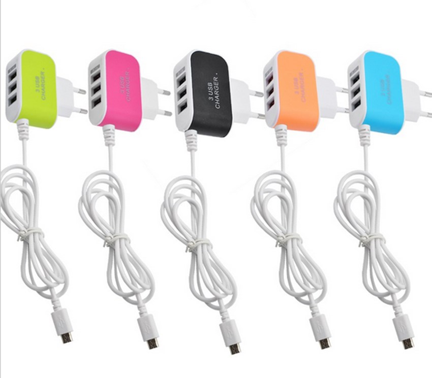 3 1A Triple USB Port Wall Home Travel AC Charger Adapter Micro USB Cable For Samsung